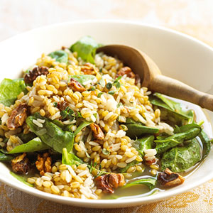 Vegetarian Recipe For Brown Rice With Barley and Spinach