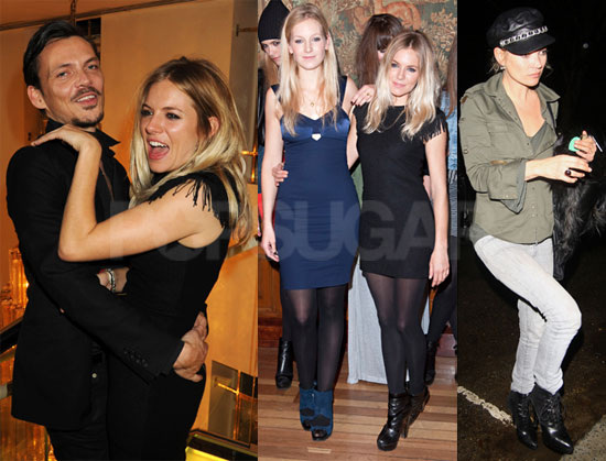 Photos de Kate Moss et Sienna Miller à la Fashion Week de Londres
