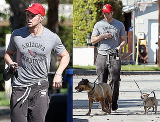 Photos of Kellan Lutz Running With Dogs Kevin and Kola