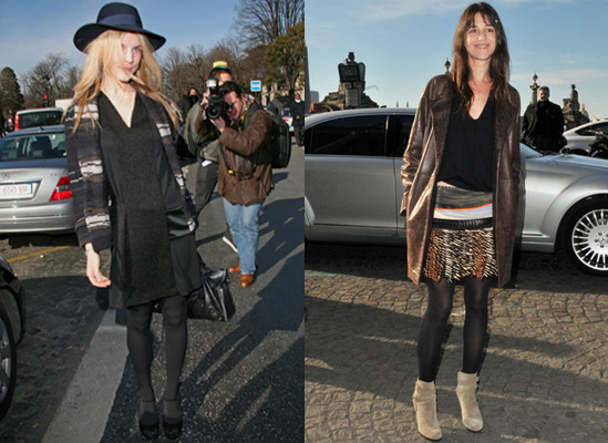 Photos of Clemence Poesy and Charlotte Gainsbourg at Balenciaga Autumn Show