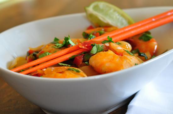 Shrimp, Cilantro and Rice Noodles