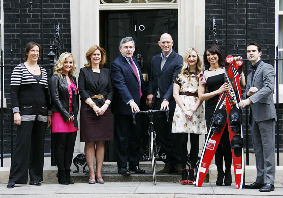 Photos of Sport Relief Celebrities Fearne Cotton, Jimmy Carr, Lawrence Dallaglio at 10 Downing Street With Gordon Brown