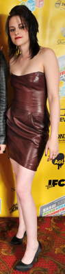 Kristen Stewart Wears Strapless Leather Dress to Austin Screening
