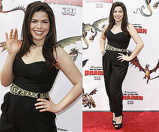 America Ferrera Wearing Black Strapless Jumpsuit and Snakeskin Belt