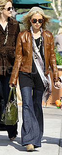 Rachel Zoe in Leather Jacket and Knit Beret