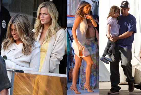 Photos of Jennifer Aniston, Adam Sandler, Sadie Sandler, Jackie Sandler, and Brooklyn Decker on the LA Set of Just Go With It