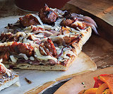 Grilled Flatbreads with Caramelized Onions, Sausage, and Manchego Cheese