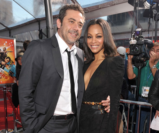 Slide picture of Jeffrey Dean Morgan and Zoe Saldana at The Losers Premiere