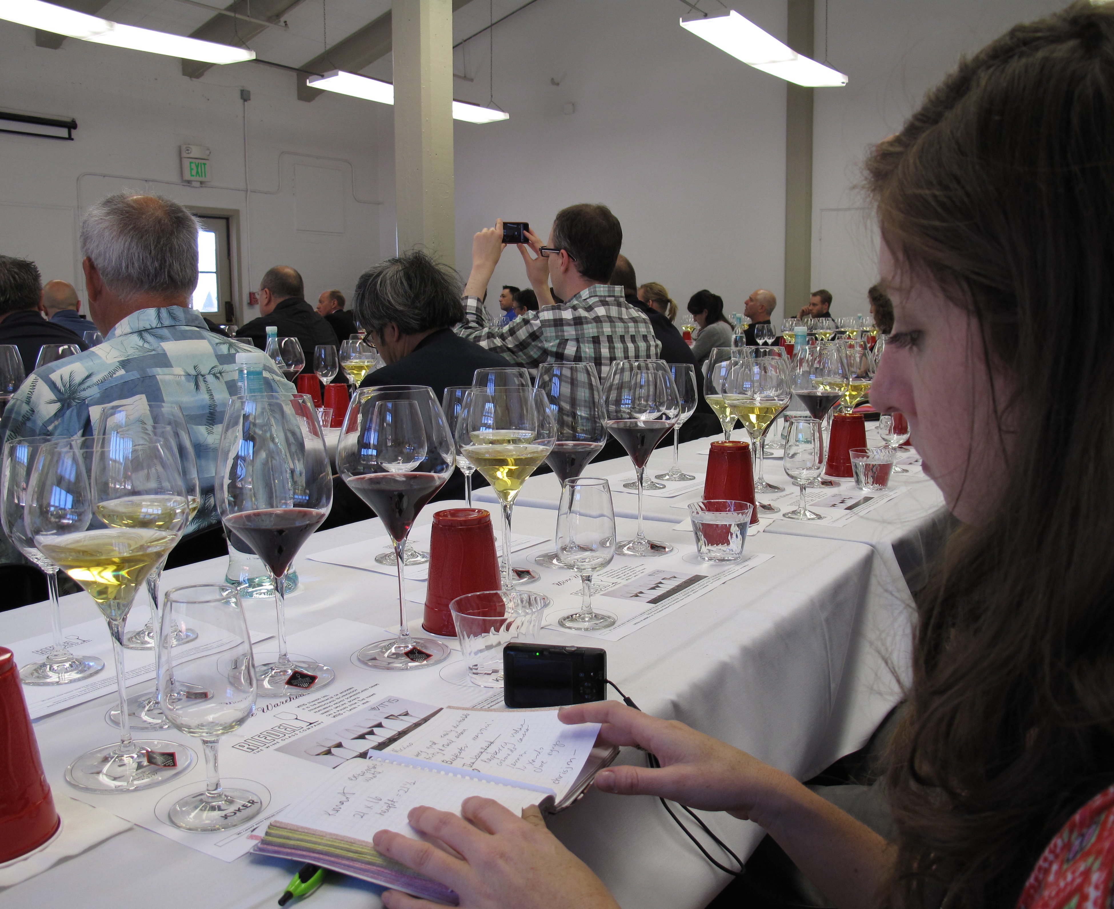 Getting ready for the Riedel tasting.