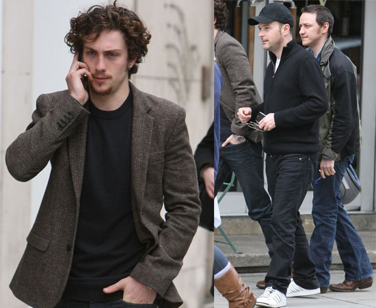 Pictures of Aaron Johnson, James McAvoy with Matthew Vaughn Outside Portland Hospital Where Claudia Schiffer Gave Birth