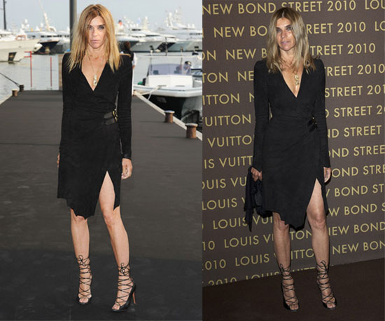 Carine Roitfeld Wears Balmain's Fall 2010 Black Dress Twice