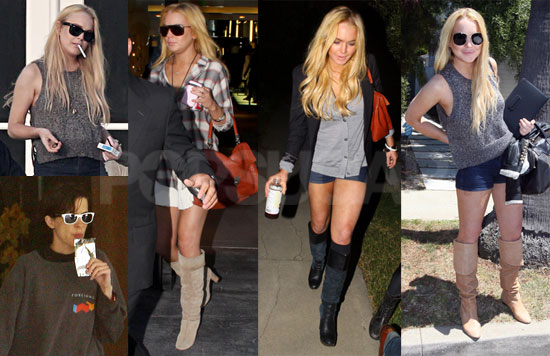 Pictures of Lindsay Lohan in LA Showing Off Her SCRAM Bracelet