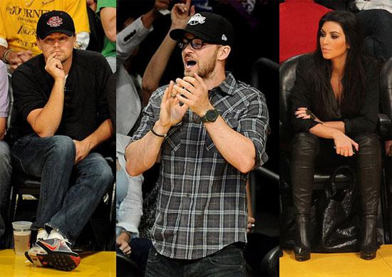Pictures of Leonardo DiCaprio, Justin Timberlake, and Kim Kardashian at NBA Finals