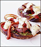 Grilled Cheddar Toasts With Red Onions and Peppers Recipe
