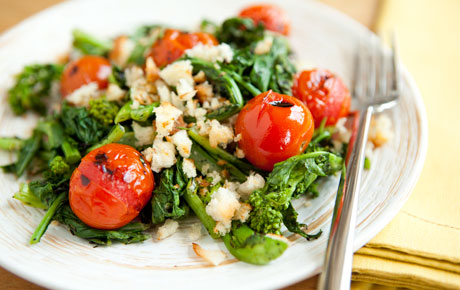 Grilled Tomato and Broccoli Rabe Salad With Sourdough Breadcrumbs Recipe