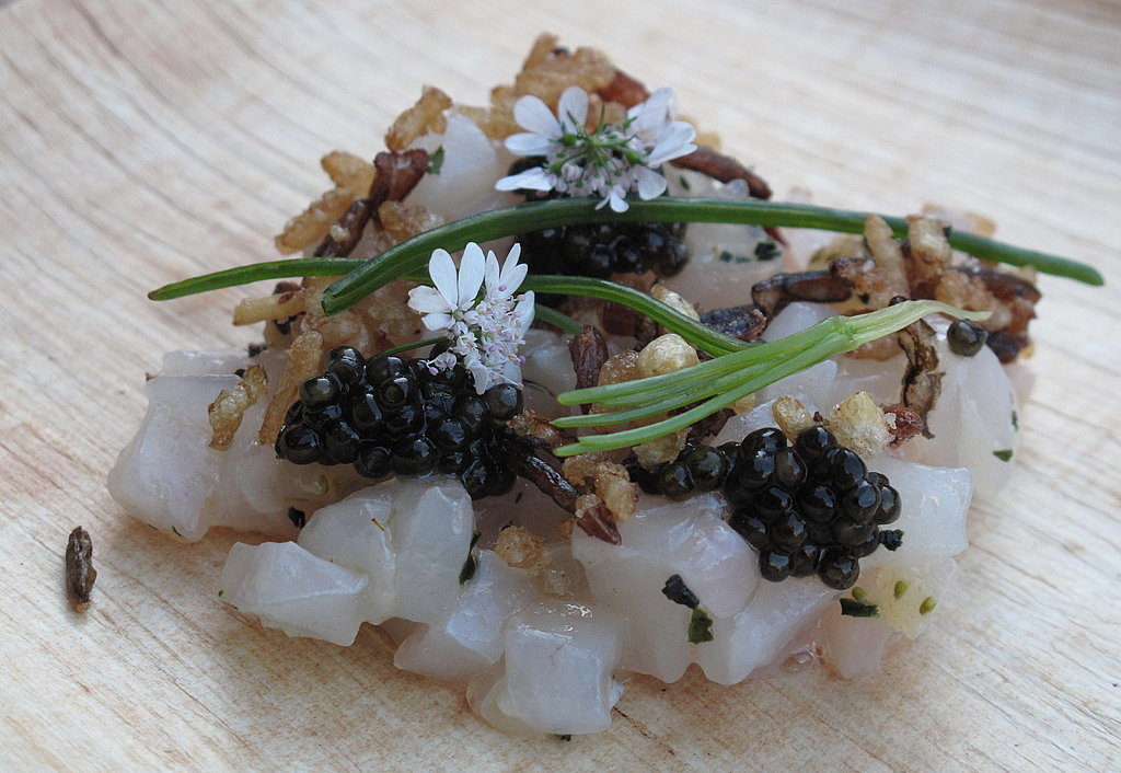 Aziza chef Louis Maldonado served a textural take on tartare with marinated striped bass, petrossian caviar, green strawberries, and crispy brown rice.