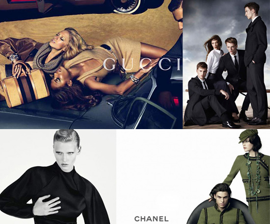 Alexa Chung for Pepe Jeans, Lara Stone for Calvin Klein, Karlie Kloss for Aquascutum
