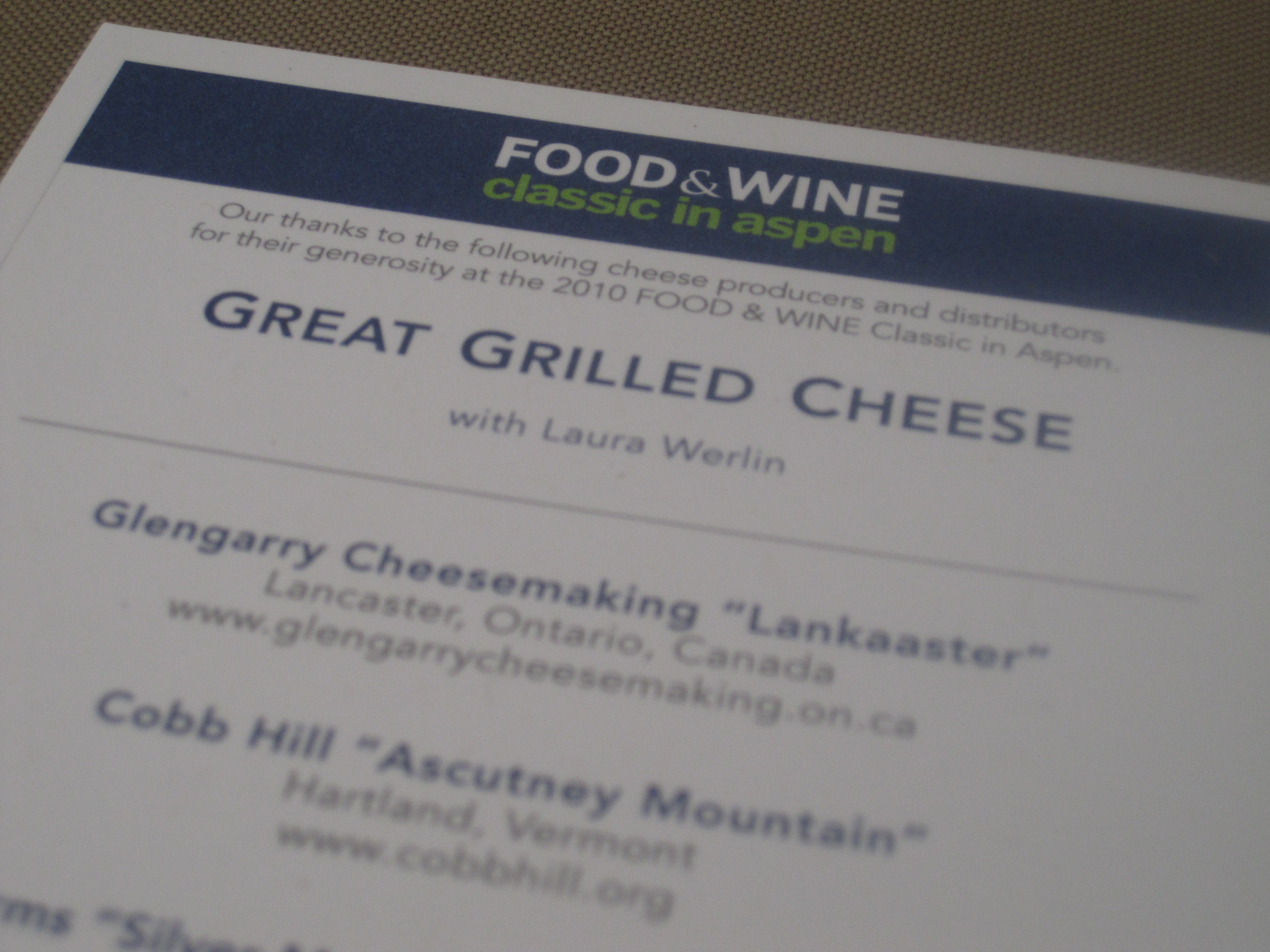 A flyer describes the cheese.