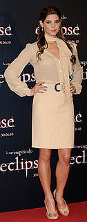 Ashley Greene in Ivory Top and Skirt at Madrid Eclipse Photo Call