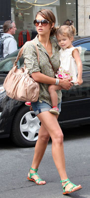 Jessica Alba Wears Jean Shorts and Green Sandals in Paris