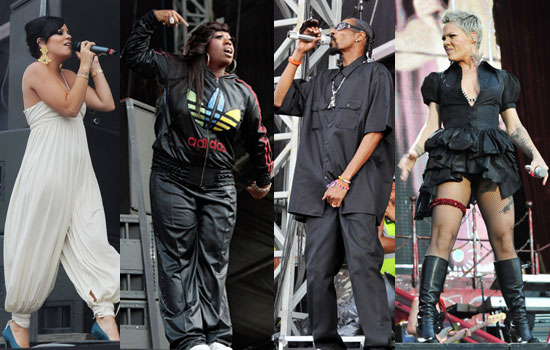Pictures of Wireless Festival Backstage and On Stage Inc Lily Allen, Snoop Dogg, Missy Elliott, Pink, Jay-Z, Beyonce, Madonna