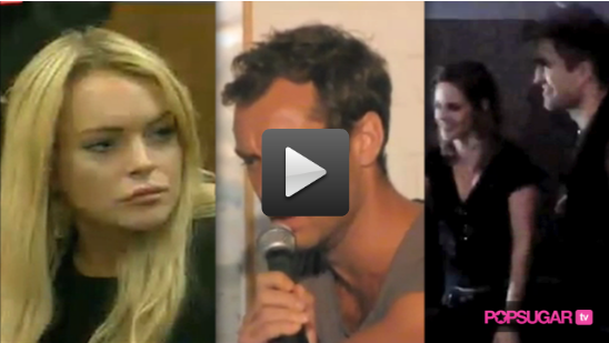Video of Lindsay Lohan in Court, Jude Law Singing, and Robert Pattinson and Kristen Stewart at an LA Movie Theater For Eclipse