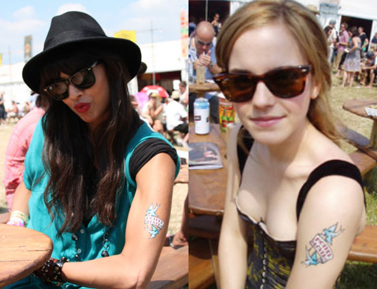 Photos of Emma Watson and Jameela Jamil with Mum Transfer Tattoos
