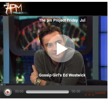 Gossip Girl star Ed Westwick makes an appearance on The 7pm Project in Melbourne Australia