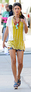 Jessica Szohr in Beaded Yellow Top and Shorts While Filming Gossip Girl