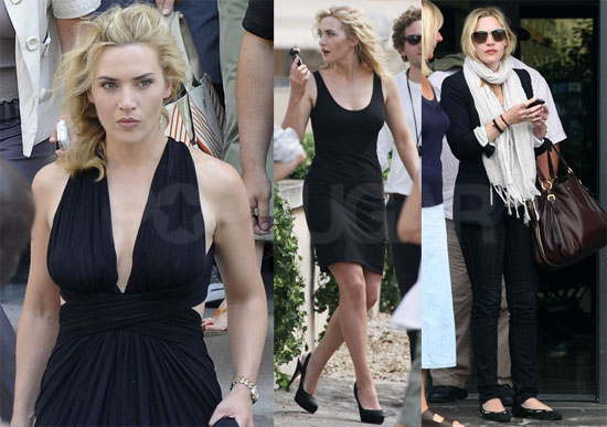 Pictures of Kate Winslet Arriving and Filming a New Commercial in Rome, Italy