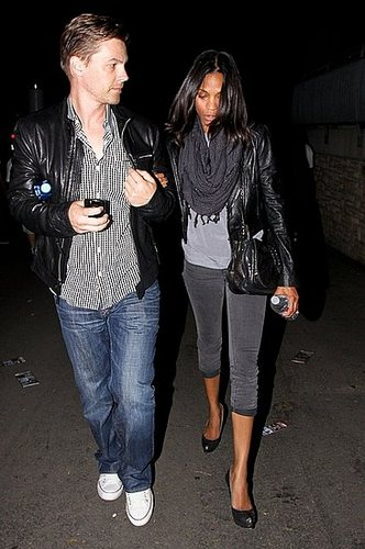 Zoe wore shades of gray to a Kings of Leon concert in LA.