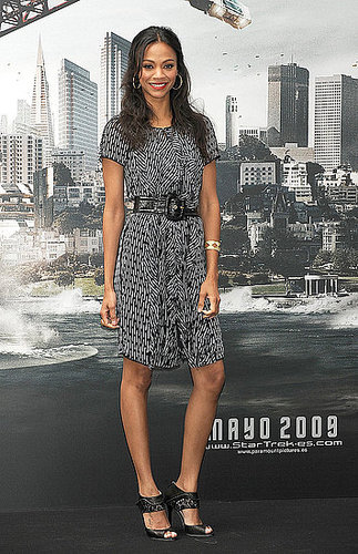 The actress looked pretty wearing a printed dress to the 2009 Star Trek Spain premiere.
