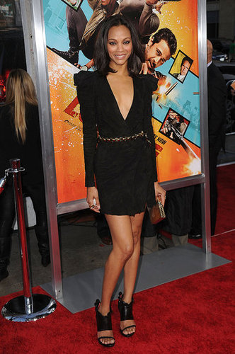 Striking a pose in a suede Balmain creation at the 2010 Losers premiere in LA.