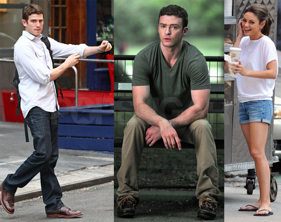 Pictures of Justin Timberlake, Mila Kunis, and Bryan Greenberg Filming Friends With Benefits