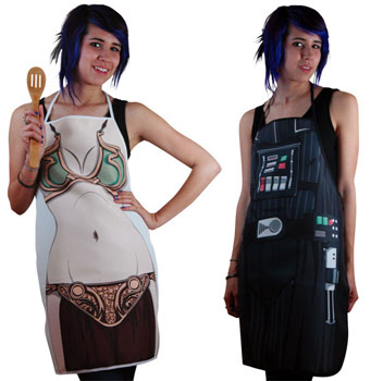 Leia and Darth Vader Aprons: Totally Geeky or Geek Chic?