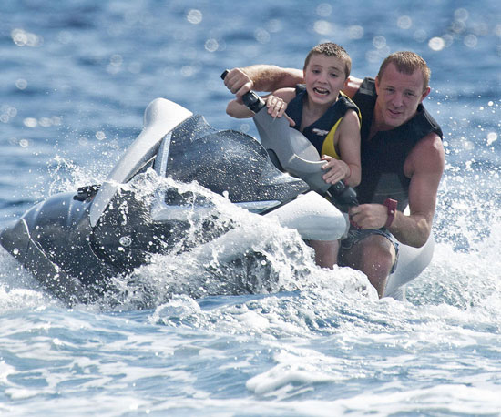 Slide Picture of Shirtless Guy and Rocco Ritchie on Vacation