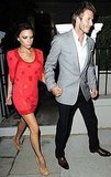Pictures of Victoria Beckham Wearing Fiery Red Dress and Christian Louboutin Cork Pumps in London