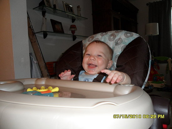5-month-old Craig in His New High Chair!