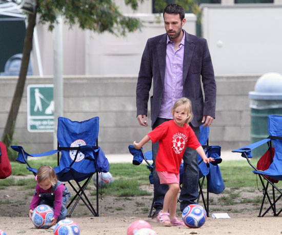 Slide Picture of Ben Affleck Playing Soccer With Violet and Seraphina