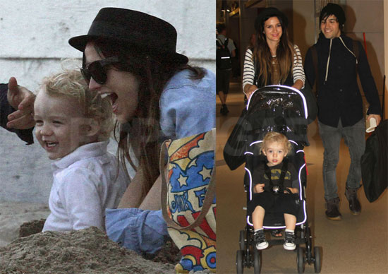 Pictures of Ashlee Simpson, Pete, and Bronx Wentz at the Beach and Traveling to NYC