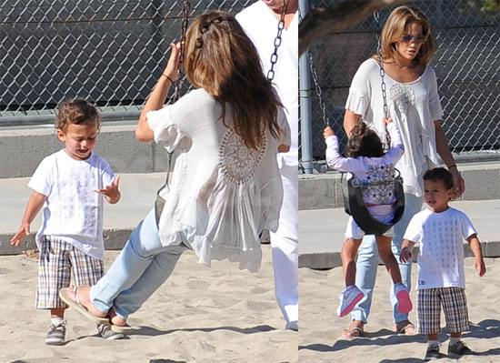Pictures of Jennifer Lopez Playing at the Park in LA With Max and Emme Lopez