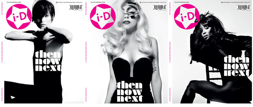 Lady Gaga, Kate Moss and Naomi Campbell on Cover of i-D Magazine September 2010