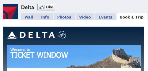 Delta's Social Media Ticket Window on Facebook