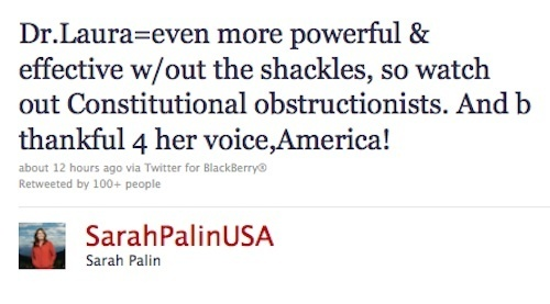 Sarah Palin Defends Dr. Laura on Twitter
