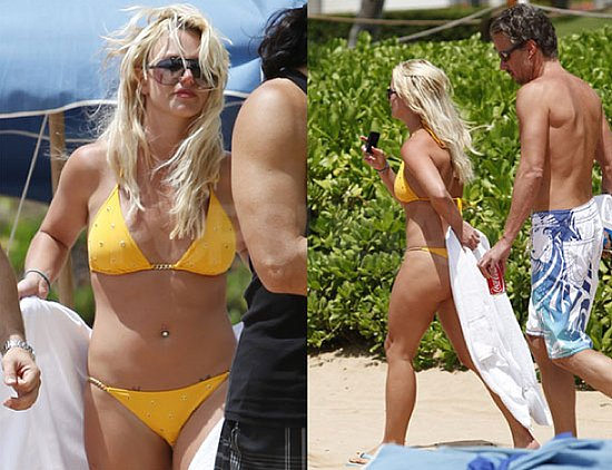 Pictures of Britney Spears in a Yellow Bikini With Shirtless Jason Trawick in Hawaii