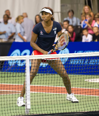 Venus Williams Teaching Tennis at Legends II Clinic on August 26