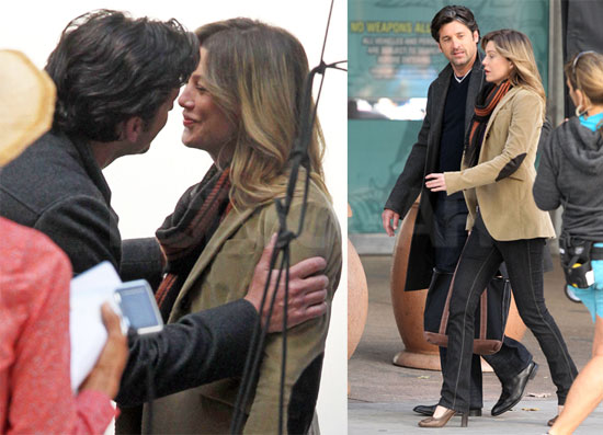 Pictures of Patrick Dempsey and Ellen Pompeo on the Set of Grey's Anatomy