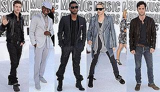 Penn Badgley, Usher, Justin Timberlake, Ne-Yo, and Jared Leto at 2010 MTV VMAs 2010-09-12 19:46:30
