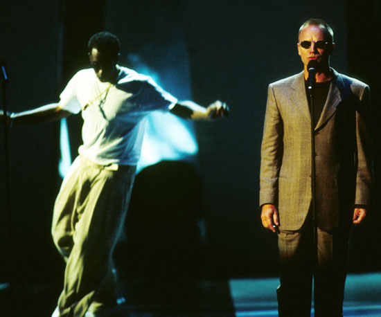 "Diddy, who went by Puff Daddy at the time, had the help of Sting, Faith Evans, and 112 to perform his hit ""I'll Be Missing You,"" a tribute to his recently deceased best friend Biggie in 1997."