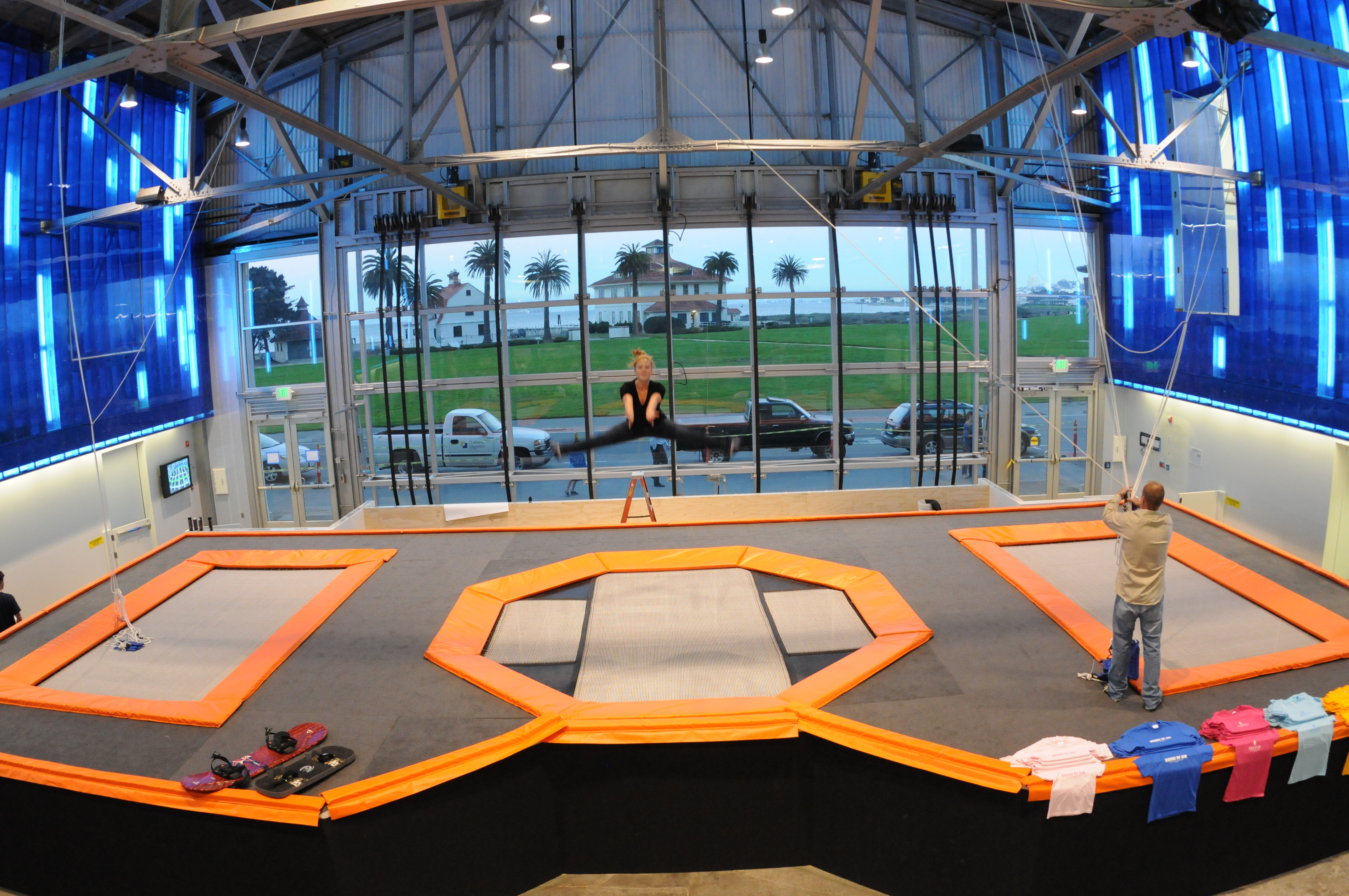 Trampoline room in house - San Francisco Airplane Hangar Transformed Into Trampoline Park San Francisco House Of Air Trampoline Gym Popsugar Fitness